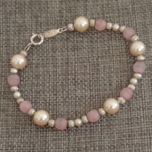 Napier Pink and Silver Beaded Bracelet